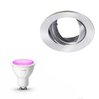 Inbouwspot Lumiance Inclusief Hue White en Color (GU10) Geborsteld aluminium