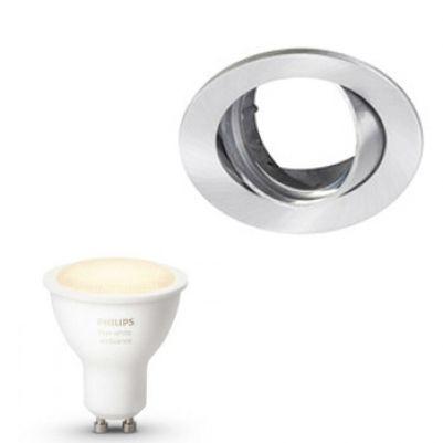 Inbouwspot Lumiance Inclusief Hue White Ambiance (GU10) Geborsteld aluminium