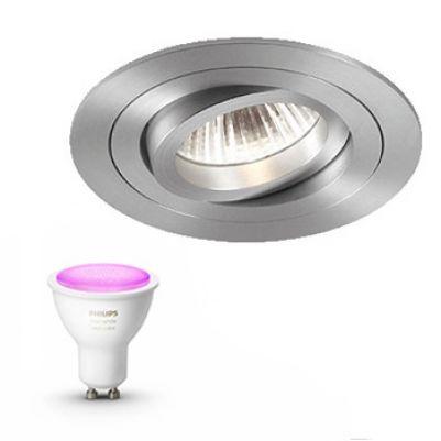 Inbouwspot Delta Light Inclusief Hue White en Color (GU10) Aluminium