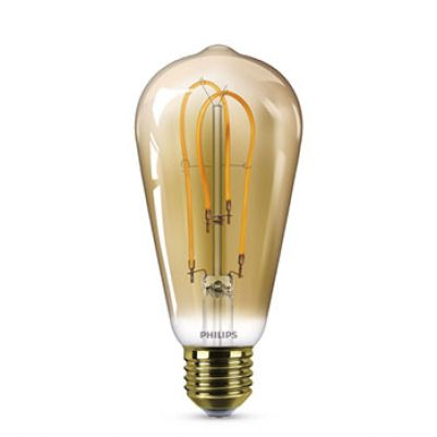 Philips Vintage LED Spiral ST64 5-25W E27 Gold Flame