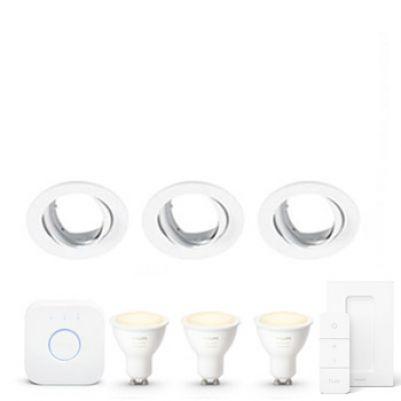 Philips Hue White ambiance GU10 Starter kit met Lumiance armatuur Wit