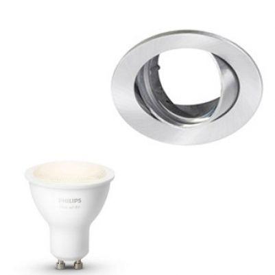 Inbouwspot Lumiance Inclusief Hue White (GU10) Geborsteld aluminium