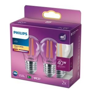 Philips 8718699763893 LED Classic P45 ND 4,3-40W E27 Warm wit Multipack 2 stuks