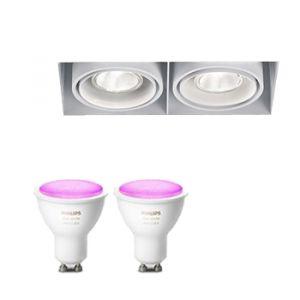 Trimless twee-vouidge Inbouwspot Delta Light inclusief Hue White en Color (GU10) Wit